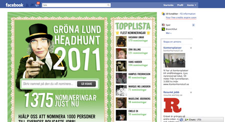 Gröna Lund rekryterar med Facebook app