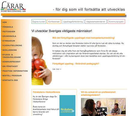 Nuvarande webbsida före implementeringen av ny design i höst 2011