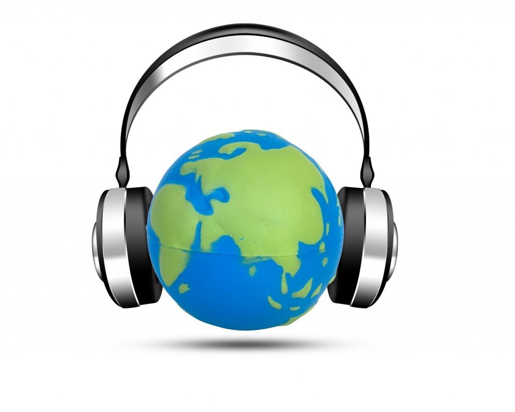 Globe with headphones by Nabil Medawar